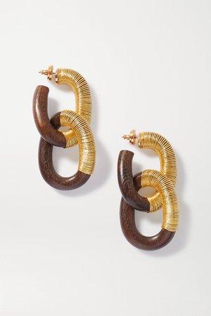 Brown Wood and cord earrings   Oscar de la Renta   NET-A-PORTER
