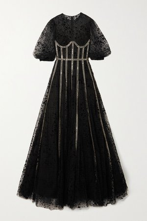 Black Linsey sequin-embellished flocked tulle gown | Costarellos | NET-A-PORTER