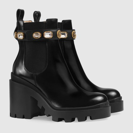 Black Leather Ankle Boot With Belt & Crystals | GUCCI® US