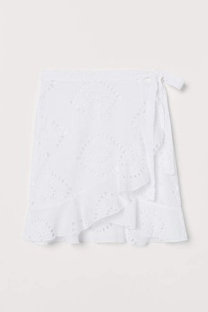 Embroidered Beach Skirt - White