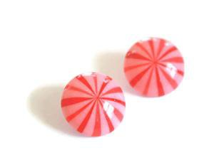 Vintage Candy Cane Stud Earrings | Red and Pink Stripe Retro Button St – Leetie Lovendale