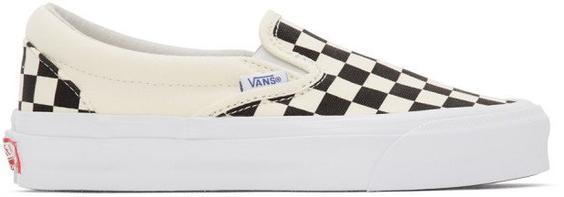 Black and Off-White Checkerboard OG Classic Slip-On LX Sneakers