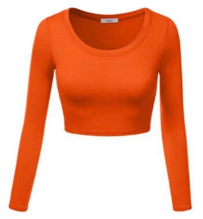 Orange Crop Top W/ Long Sleeves
