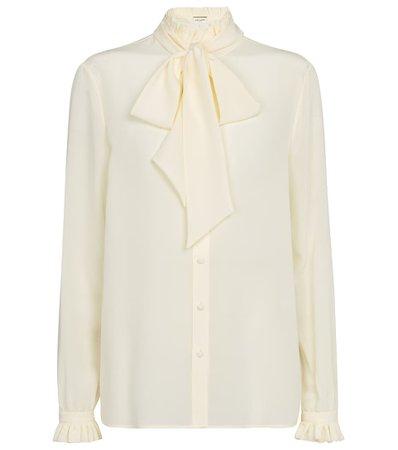 Saint Laurent - Silk crêpe de chine blouse   Mytheresa