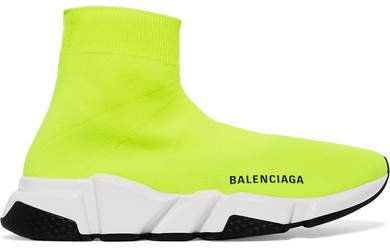Speed Neon Logo-print Stretch-knit High-top Sneakers - Bright yellow