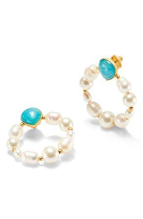 kate spade new york freshwater pearl & jade hoop earrings | Nordstrom