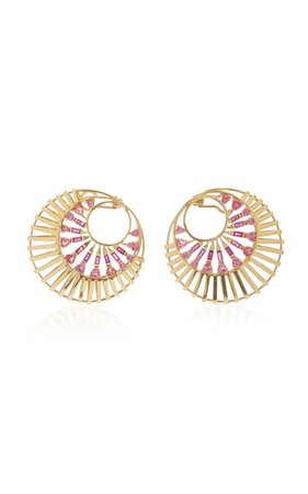 18K Gold, Tourmaline and Ruby Earrings by Carol Kauffmann | Moda Operandi