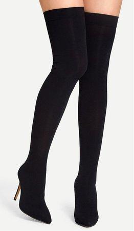 black knee high boot heels