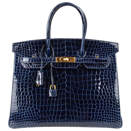 Hermes Birkin 35 Bag Blue Sapphire Porosus Crocodile Gold Hardware New For Sale at 1stdibs