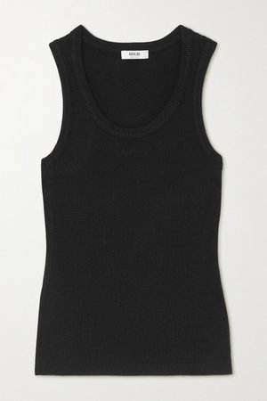 Poppy Ribbed Stretch Organic Cotton And Tencel-blend Jersey Tank - Black