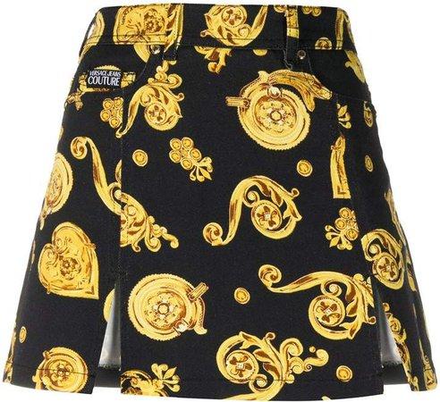 Front Slit Baroque Print Skirt