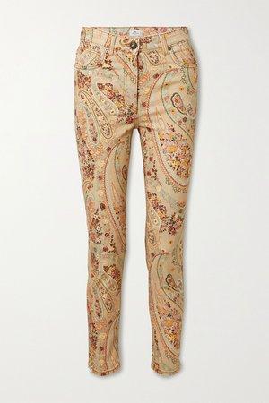 Beige Paisley-print high-rise skinny jeans   Etro   NET-A-PORTER