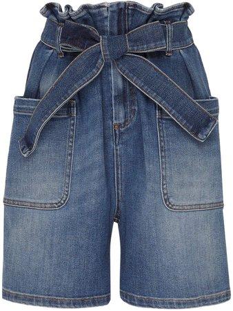 Paperbag-Tied Denim Shorts