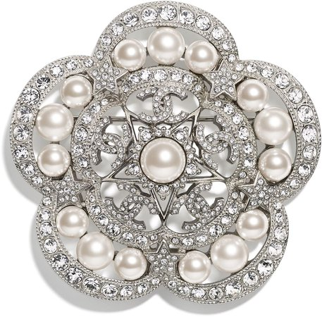Brooch, metal, glass and strass pearls, silver, mother of pearl white and crystal - CHANEL
