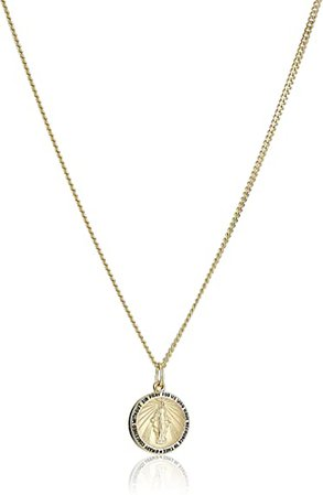 "Amazon.com: 14k Gold-Filled Round Miraculous Medal Madonna Pendant Necklace with Stainless Steel Chain, 20"": Clothing"