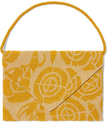 Envelope Beaded Silk-satin Clutch - Yellow