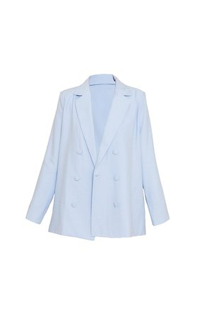 Baby Blue Woven Triple Breasted Oversized Blazer   PrettyLittleThing USA