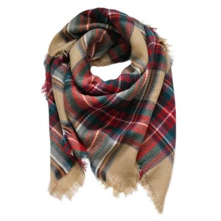 Beige Plaid Scarf | Blanket Scarf | Tartan Scarf | Flannel Scarf | Check Scarf
