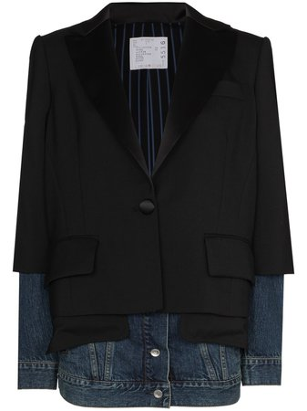 Shop Sacai panelled single-breasted blazer with Express Delivery - FARFETCH