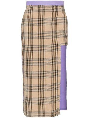 Natasha Zinko Asymmetric Check Midi Skirt - Farfetch