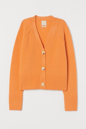 Boxy Wool-blend Cardigan - Light orange - Ladies   H&M US