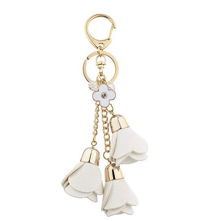 Amazon.com: Lux Accessories Xmas Christmas Holiday Silver Tone Black White Tassel Keychain Bag Charm Set: Clothing