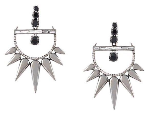 ELISE DRAY 18kt Black Gold Diamond Spike Earrings