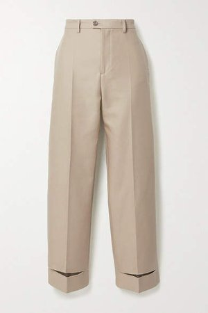 Cotton-blend Twill Straight-leg Pants - Beige