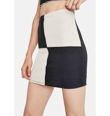 Bodycon High Waisted Colorblock Mini Skirt - Black White   Dolls Kill