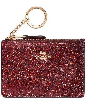 coach red glitter card case