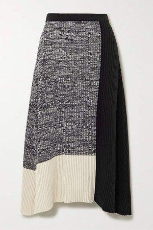 Asymmetric Color-block Ribbed Cotton-blend Skirt - Black
