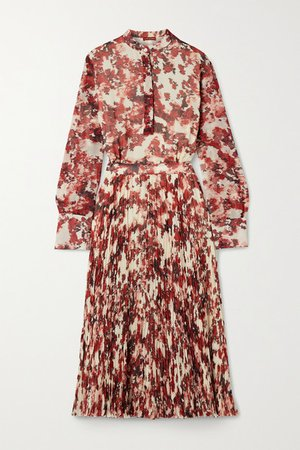 Emilia Pleated Printed Georgette Midi Dress - Red