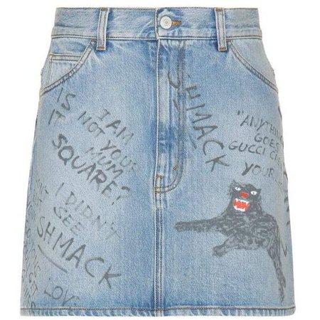 Gucci Printed Denim Skirt