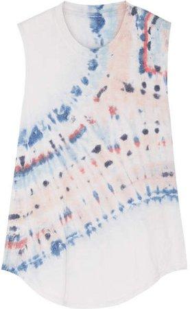 Tie-dyed Cotton-blend Jersey Tank - Light gray