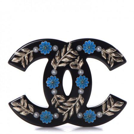 CHANEL Resin Pearl Enamel Flower CC Brooch Black Blue Gold 278351