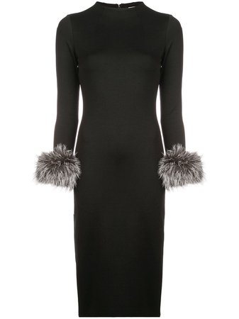 Alice+Olivia Delora fur cuff midi dress $220 - Buy Online SS19 - Quick Shipping, Price