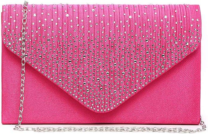 Dasein Ladies Frosted Satin Evening Clutch Purse Bag Crossbody Handbags Party Prom Wedding Envelope (41074 Fuchsia): Handbags: Amazon.com