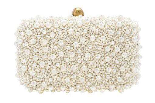 white cream pearl clutch bag