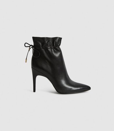 Russo Black Leather Ruched Ankle Boots – REISS