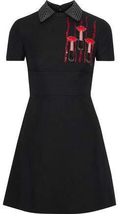 Embellished Wool And Silk-blend Cady Mini Dress