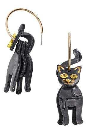 BaubleBar Black Cat Hoop Earrings | Nordstrom