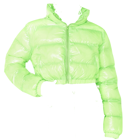 green cropped puffer jacket