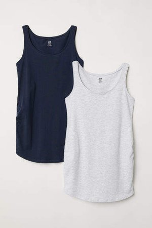 MAMA 2-pack Jersey Tank Tops - Gray