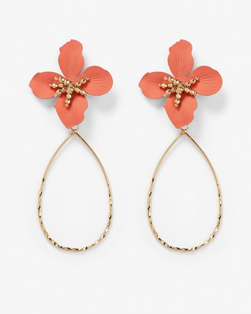 Flower Post Oval Drop Earrings | Express