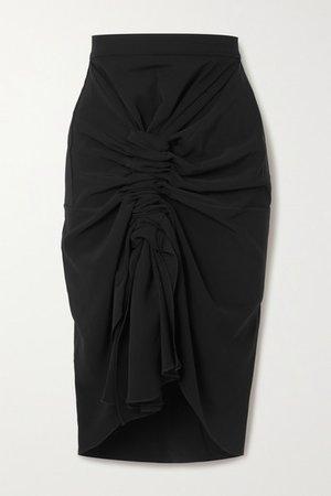 Gathered Crepe Midi Skirt - Black
