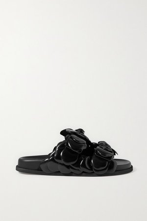 Rosa Appliqued Leather Sandals - Black