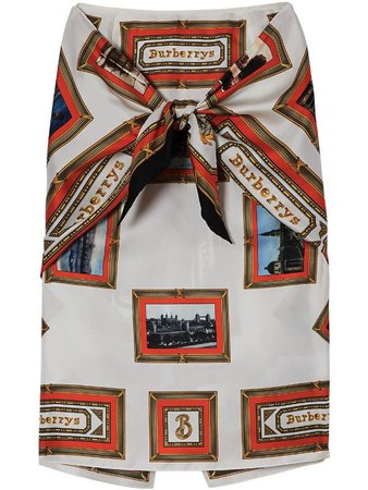 Burberry Scarf Detail Archive Scarf Print Silk Pencil Skirt - Farfetch