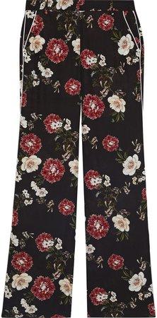 Floral-print Silk Crepe De Chine Wide-leg Pants