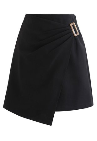 Side Ruched Belt Asymmetric Mini Skirt in Black - Retro, Indie and Unique Fashion