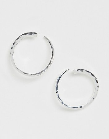 Pilgrim silver plated hoop earrings | ASOS